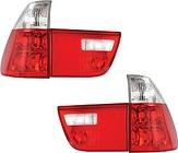 Фонарь задний левый+правый+вставка в крышку багажника левая+правая (комплект, тюнинг, прозрачный, красно-белый) BMW X5 2000-2003 год / Е53