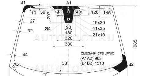 Стекло лобовое в клей Opel Omega   1999-2003 год / B