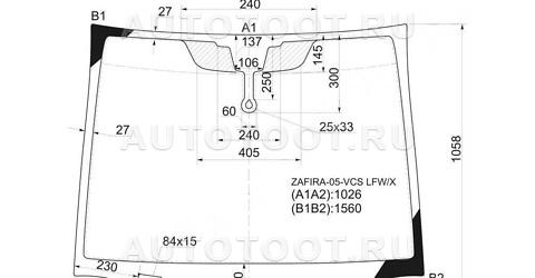 Стекло лобовое в клей Opel Zafira  2005-2007 год / B