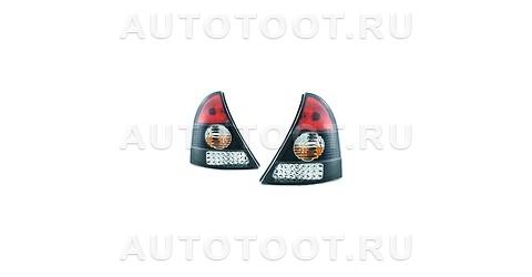 Фонарь задний левый+правый (комплект, тюнинг, с диодами, хрусталь, внутри черный-хром) Renault Clio 2001-2005 год / II