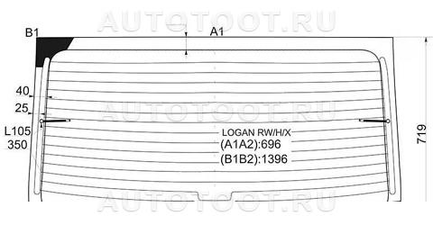 Стекло заднее с обогревом Renault Logan 2010-2013 год / I