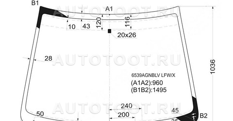 Стекло лобовое в клей Peugeot 206 2003-2010 год / I