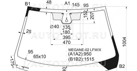 Стекло лобовое в клей Renault Megane 2003-2006 год / II