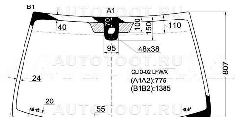Стекло лобовое в клей (3/5 дверный) Renault Clio 1998-2001 год / II