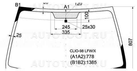 Стекло лобовое в клей (хэтчбэк, 3/5 дверный) Renault Clio 1998-2001 год / II
