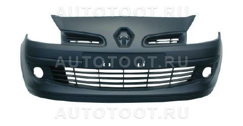 Бампер передний (с отверстиями под противотуманки, в сборе) Renault Clio 2005-2009 год / III