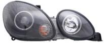 Фара левая+правая (комплект, тюнинг, линзованная, со светящимися ободками, внутри черная) LEXUS GS300 1998-2005 год / JZX16