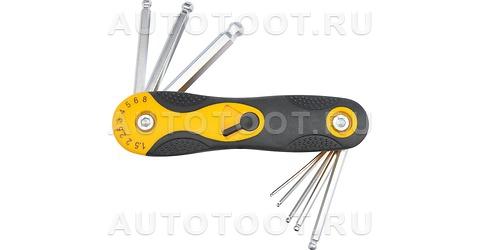 Набор ключей 8 в 1, шестигранных с шаром, 8 пр: 1.5, 2, 2.5, 3-6, 8 мм, на фиксаторе, пласт. ручка -