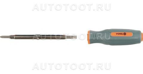 Отвертка переставная, шлицевая - 5, 6 мм, крестовая - РН1, РН2, НЕХ (6 гр.) - 8, 9 мм -