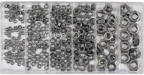 Гайки набор 300 пр: M3, 4, 5, 6, 8, 10, нержавеющая сталь -