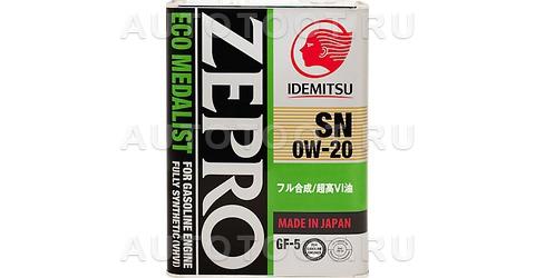 0W-20 SN/GF-5 4л Масло моторное синтетика ZEPRO IDEMITSU ECO MEDALIST -